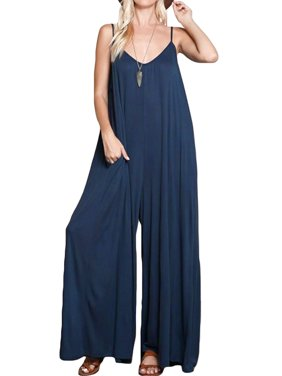 Ladies Strap V Neck Side Pockets Wide Legs Drop-Crotch Baggy Jumpsuits