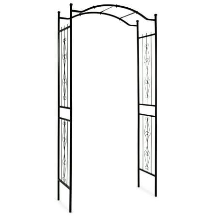 Best Choice Products Decorative Steel Garden Trellis Arbor - Black (Trellis Garden Arches)