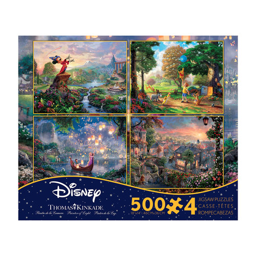 Thomas Kinkade Disney Dreams 4-in-1 Jigsaw Puzzle Multi-Pack, Series 2, 500 Pieces Each
