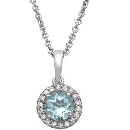 Genuine Simulated Aquamarine and White CZ Sterling Silver Cushion-Framed Pendant, 18