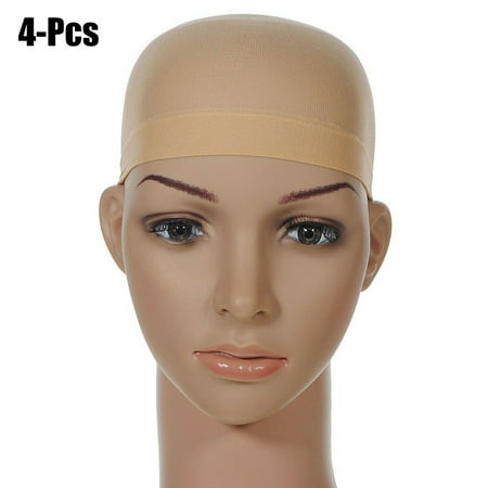 Kapmore 4Pcs Black Nude Wig Cap Elastic Breathable Close End Net Hair Wig Caps Hairnet Cap Stocking Hair Cap for Long & Short Hair Women Men