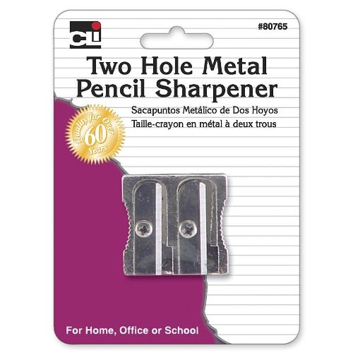 Charles Leonard Pencil Sharpener - Metal Two Hole - 1/Card, 80765