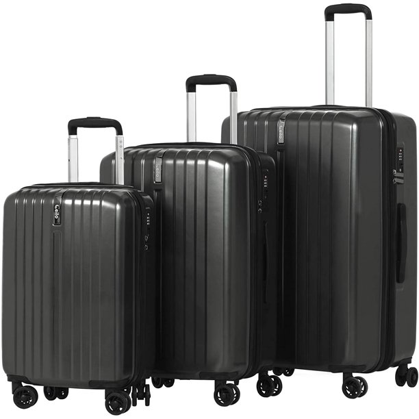 "Ceilo Travel 3 Pieces ABS Luggage Sets with TSA Lock Lightweight 360°Durable Spinner Suitcase 20"" 24"" 28"", 3PCS"