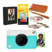 Kodak PRINTOMATIC Instant Print Camera (Blue) Travel Case Bundle
