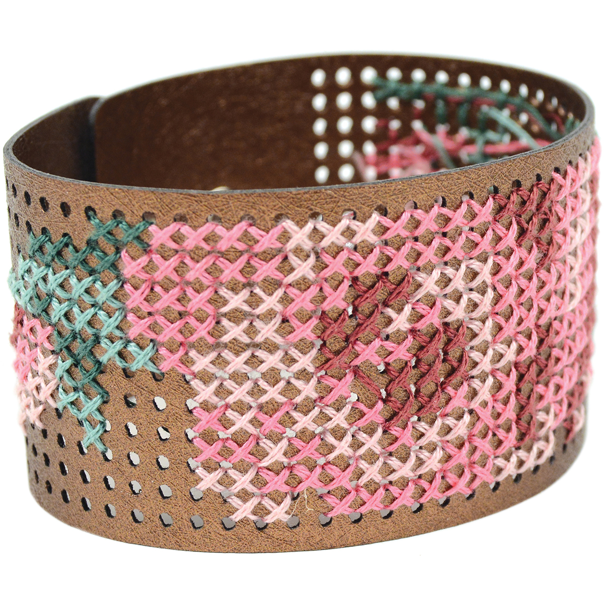 "Cross Stitch Style Faux Leather Bracelet Punched-8""X1.5"" Metallic Copper"