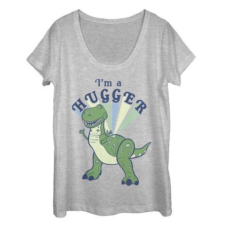 Toy Story Women's 4 I'm a Hugger Rex Scoop Neck (1970's Womens Shirt)