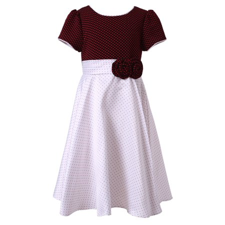 Richie House Little Girls White Wine Pintuck Dotted Bow Polished Dress 9/10 ()