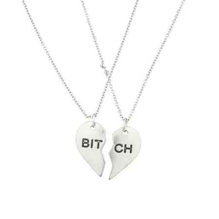 Lux Accessories BITCH Best Friends Forever BFF Necklace Set (2 (Best Bitches 3 Piece Necklace)
