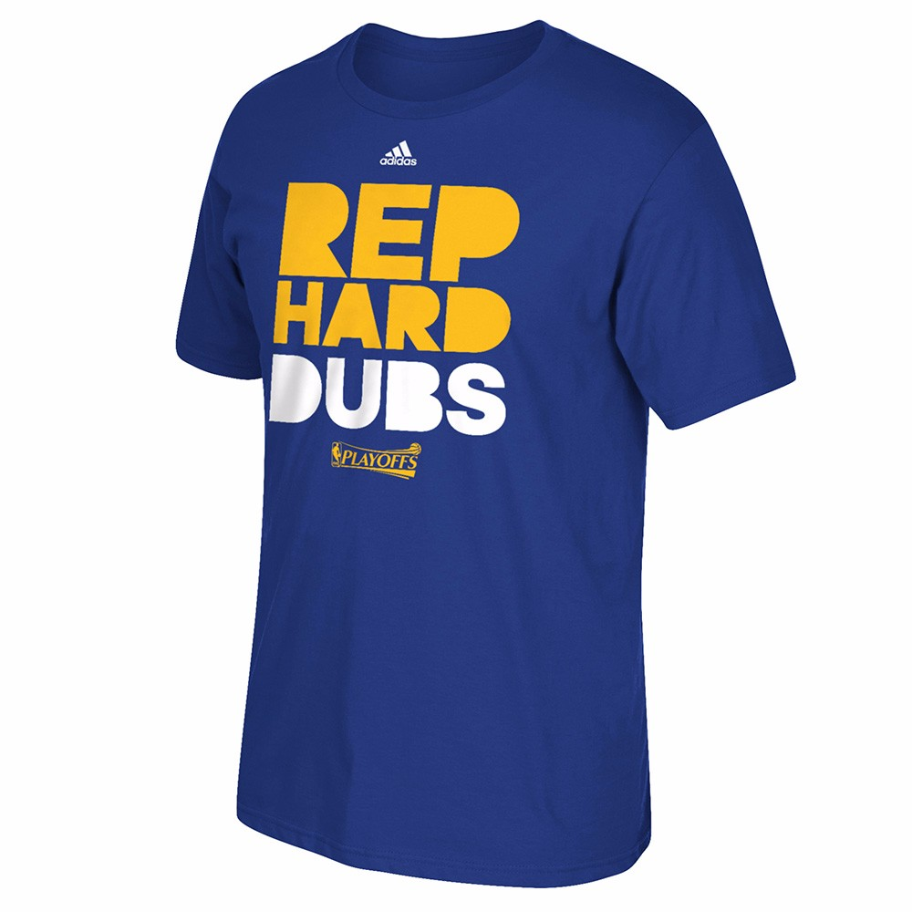 "Golden State Warriors NBA Adidas Men Blue ""Rep Hard Dubs"" NBA Playoff Finals Graphic T-Shirt"