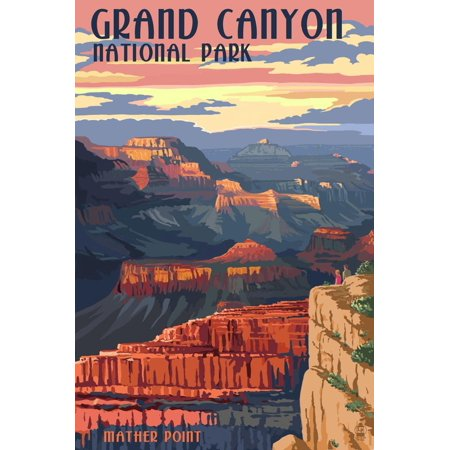 French Ad Poster - Grand Canyon National Park - Mather Point Scenic Landscape Travel Ad Poster Wall Art By Lantern Press