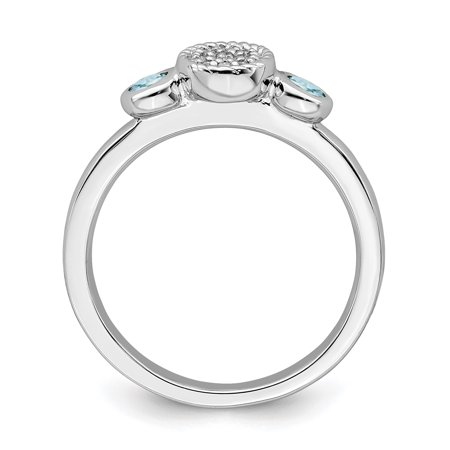 Sterling Silver Stackable Expressions Dbl Round Aquamarine & Dia. Ring Size 8 - image 2 de 3