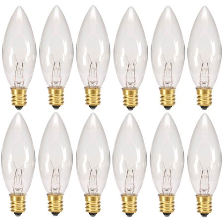 Creative Hobbies? Replacement Light Bulbs for Electric Candle Lamps & Chandeliers - 7 Watt, Clear, Steady Burning - Pack of 12 ()