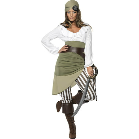 Pirate Skirt Diy (Smiffy's Women's Shipmate Sweetie Costume Top Skirt Leggings Bandana Belt and Boot Cuffs Pirate Serious Fun Size 14-16)