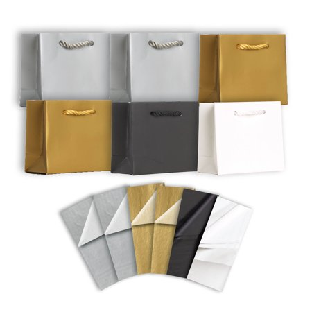 Jillson & Roberts Solid Color Matte Tiny Gift Bag & Tissue Assortment, Elegant (6 Bags)](Tiny Gift Bags)