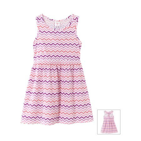 Little Miss Muffet Dress (Little Miss Attitude Toddler Girls Knot Back Dress - Pink Chevron -)