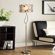 TRIBECCA HOME Floral 62-inch Silver Crystal Floor Lamp