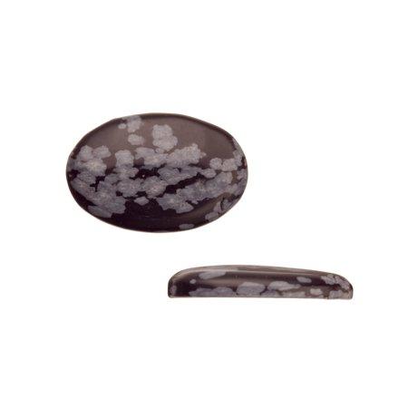Oval Dome Semi-Precious Cabochon Stones Snowflake Obsidian 20x30mm Beading Supply (Snowflake Obsidian Stone)