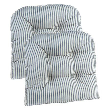 Klear Vu Gripper Ticking Stripe 15 x 15 Universal Dining Chair Cushion - Set of 2 ()