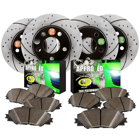Approved Performance Front and Rear Drilled and Slotted Brake rotor Kit with Carbon Fiber Ceramic Pads. 2007, 2008, 2009, 2010, 2011, 2013, 2014, 2015 Jeep Wrangler 6 Cyl Fits 4WD and RWD models