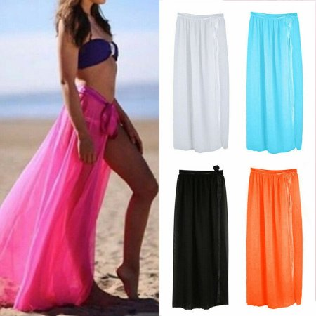 Womens Swim Wear Bikini Cover Up Sheer Beach Mini Wrap Skirt Sarong Pareo Shorts ()