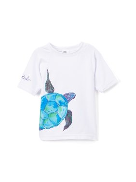 Azul Little Boys White Aqua Sea Turtle Short Sleeve Rash Guard