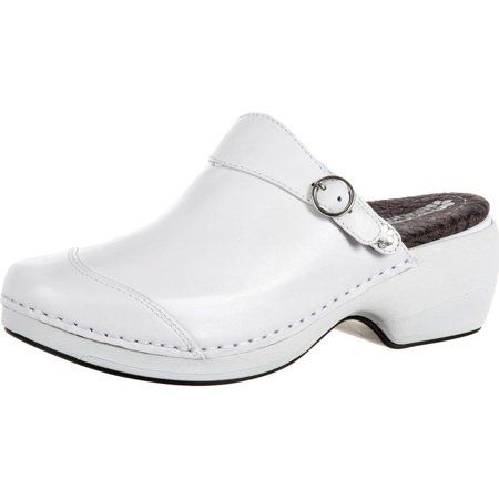 4EurSole Work Shoes Womens Patent Leather Clog White RKH049