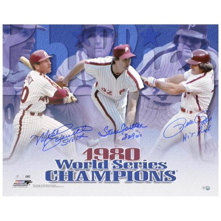 """Pete Rose, Steve Carlton and Mike Schmidt Philadelphia Phillies 1980 World Series Autographed 16"""" x 20"""" Horizontal Photograph with 3 Inscriptions"""