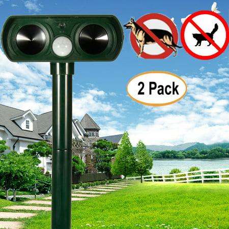 2Pcs Solar Power Dog Cat Repeller Ultrasonic PIR Infrared Sensor Animal Deterrent Yard (Best Cat Deterrent For Garden)