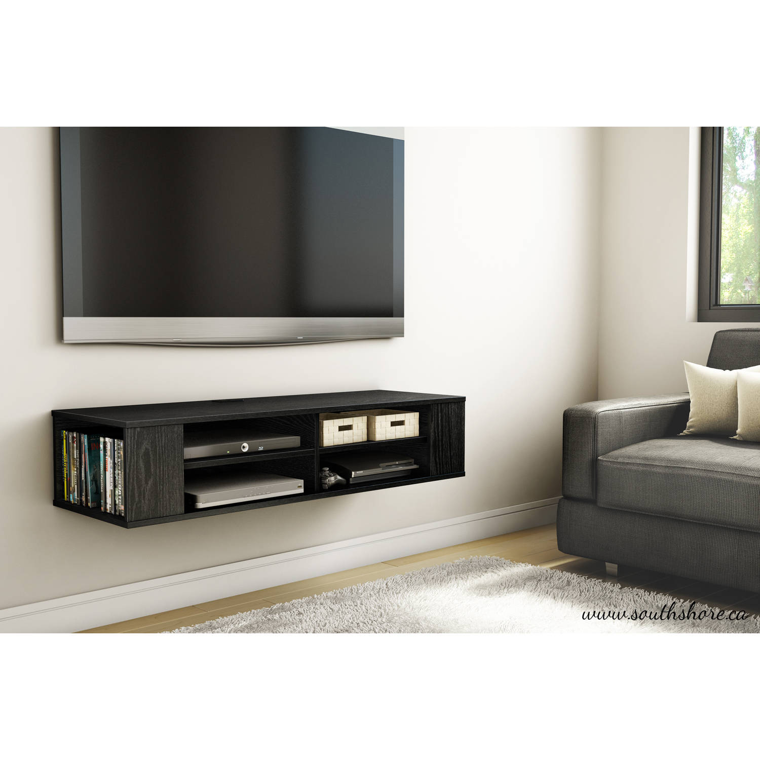 """South Shore City Life 48"""" Wall Mounted Media Console, Multiple Colors"""