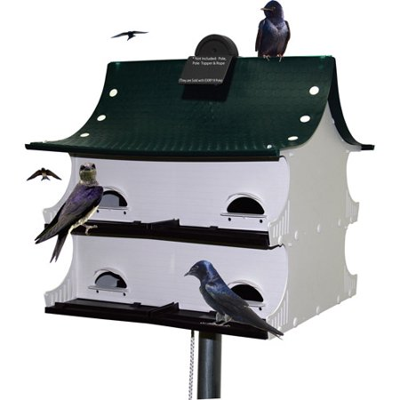 S&K Great 8 Purple Martin House, Green/White/Black Aluminum Purple Martin House