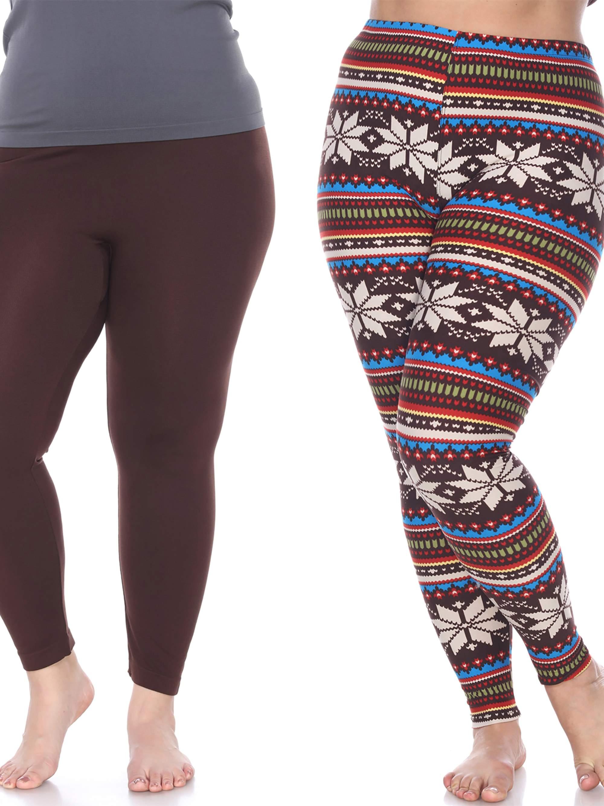 White Mark Women's Pack of 2 Plus Size Leggings