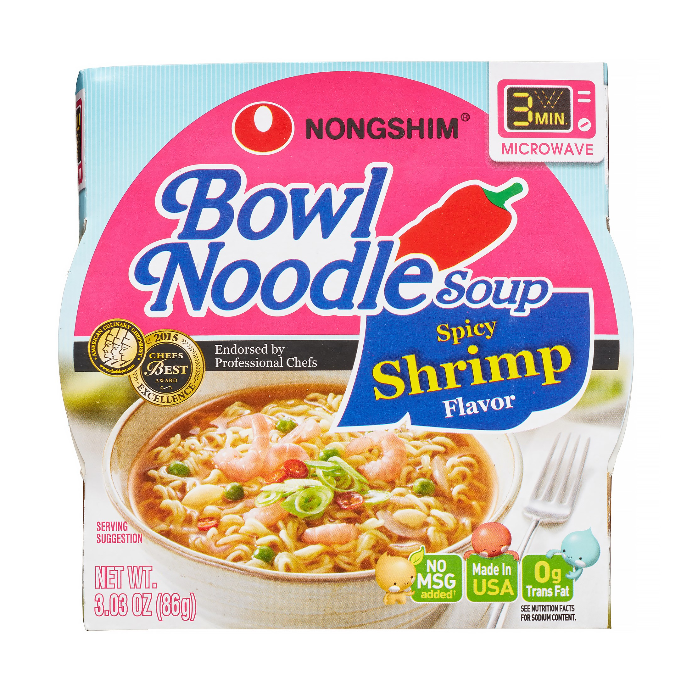 Nongshim Bowl Noodle Spicy Shrimp, 3.03 Oz, 12 Ct