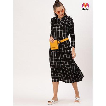 DressBerry Women Black & White Checked A-Line Dress - image 1 de 1