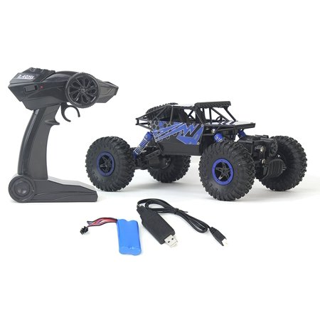 Rock Crawler Remote Control Toy Blue Rally Buggy RC Car 2.4 GHz 1:18 Scale Size w/ Working Suspension, Spring Shock Absorbers