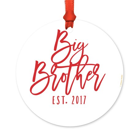 Big Christmas Gifts (Family Metal Christmas Ornament, Big Brother Est. 2017, Includes Ribbon and Gift)