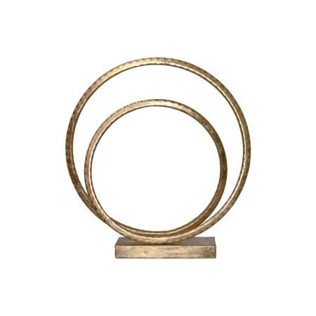 Antiqued Metal Swirl Abstract Sculpture on Square Base, Gold