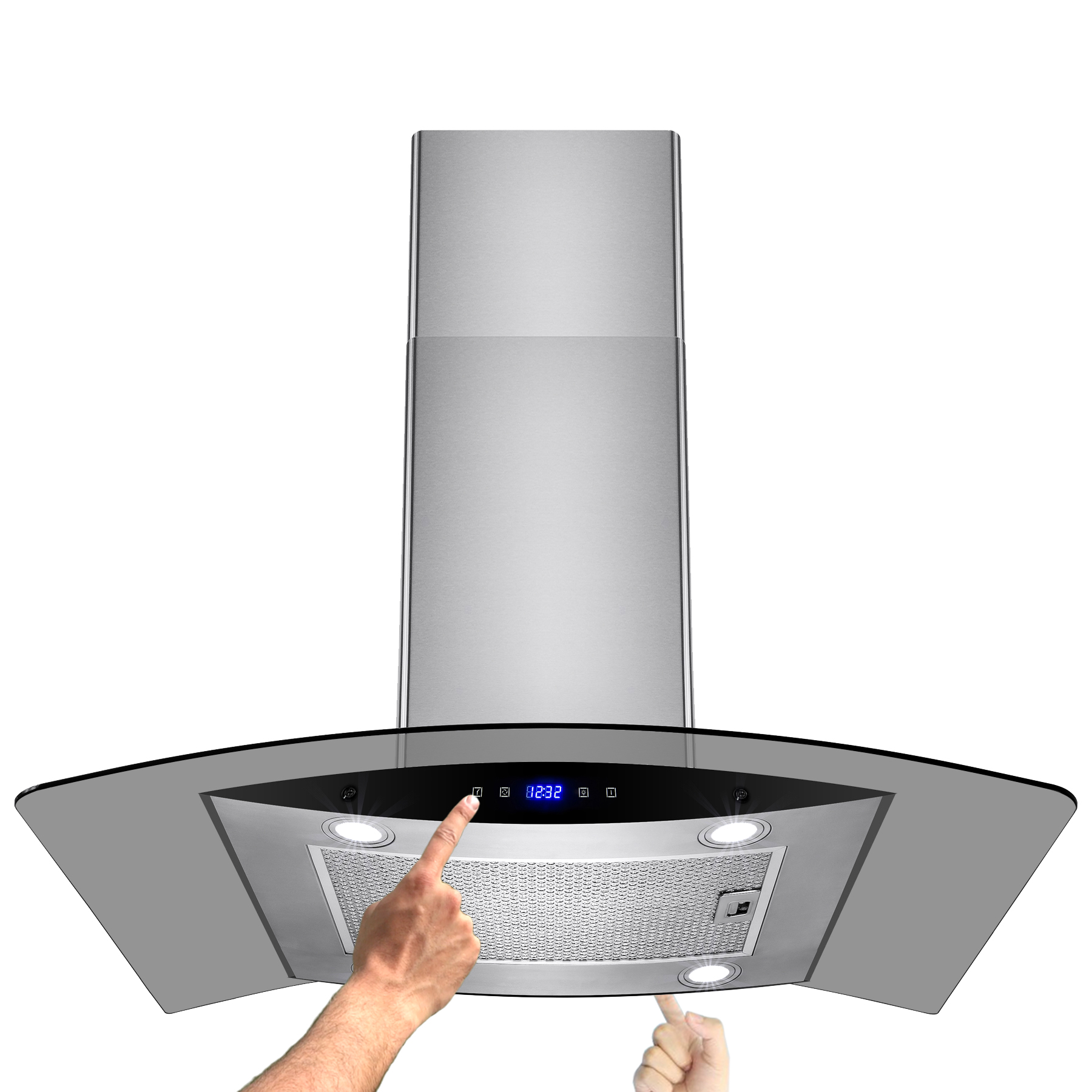 """Image of AKDY 36"""" Island Mount Stainless Steel Glass Kitchen Range Hood Grease Filter with Touch Control Panel"""