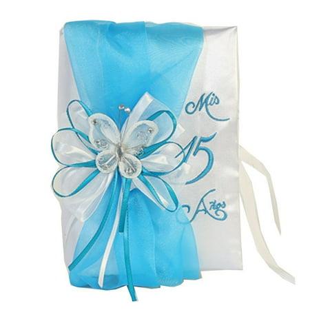 Angels Garment Girls White Aqua Sash Floral Embellished Quinceanera Bible