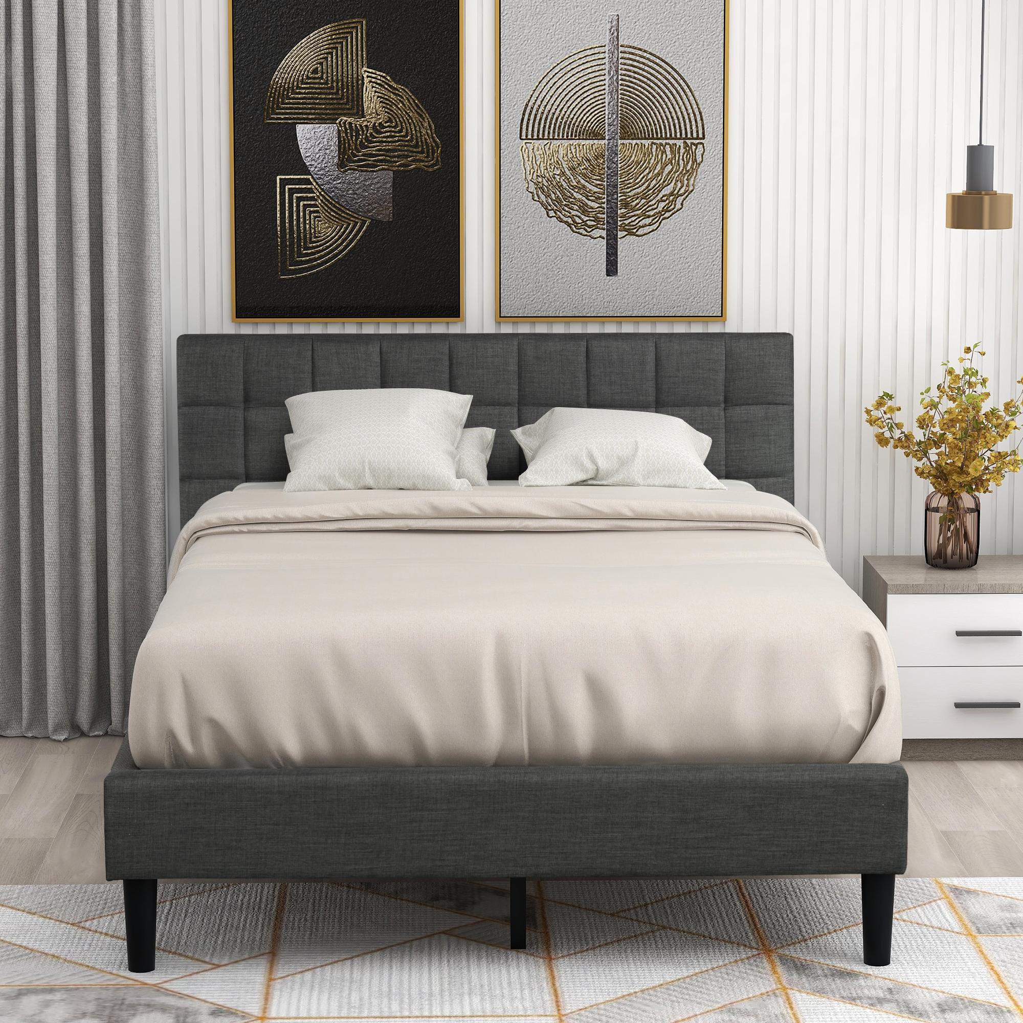 upholstered queen bed frame plywood queen platform bed