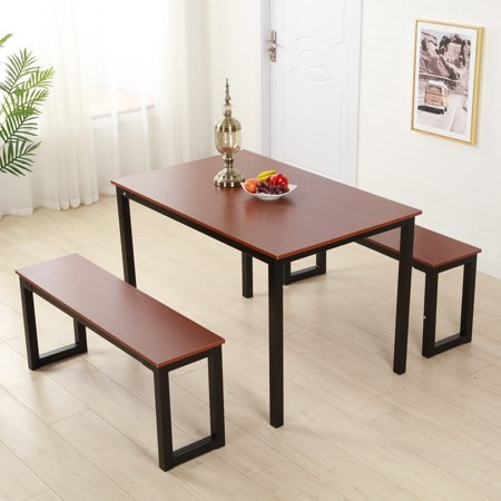Hommoo Dining Table Set, 3 Piece Kitchen Dining Room table Set with Two Bench, Pc-WQ1151BN Brown Solid Wood Quality Construction Dining Sets for Home Kitchen Living Room Furniture ()