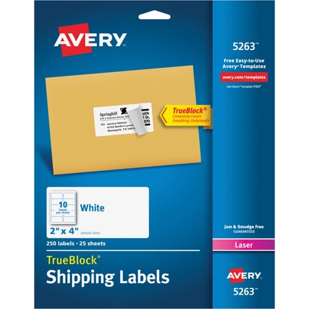 Avery R  Shipping Labels With Trueblock R  Technology For Laser Printers 5263  2  X 4   Pack Of 250
