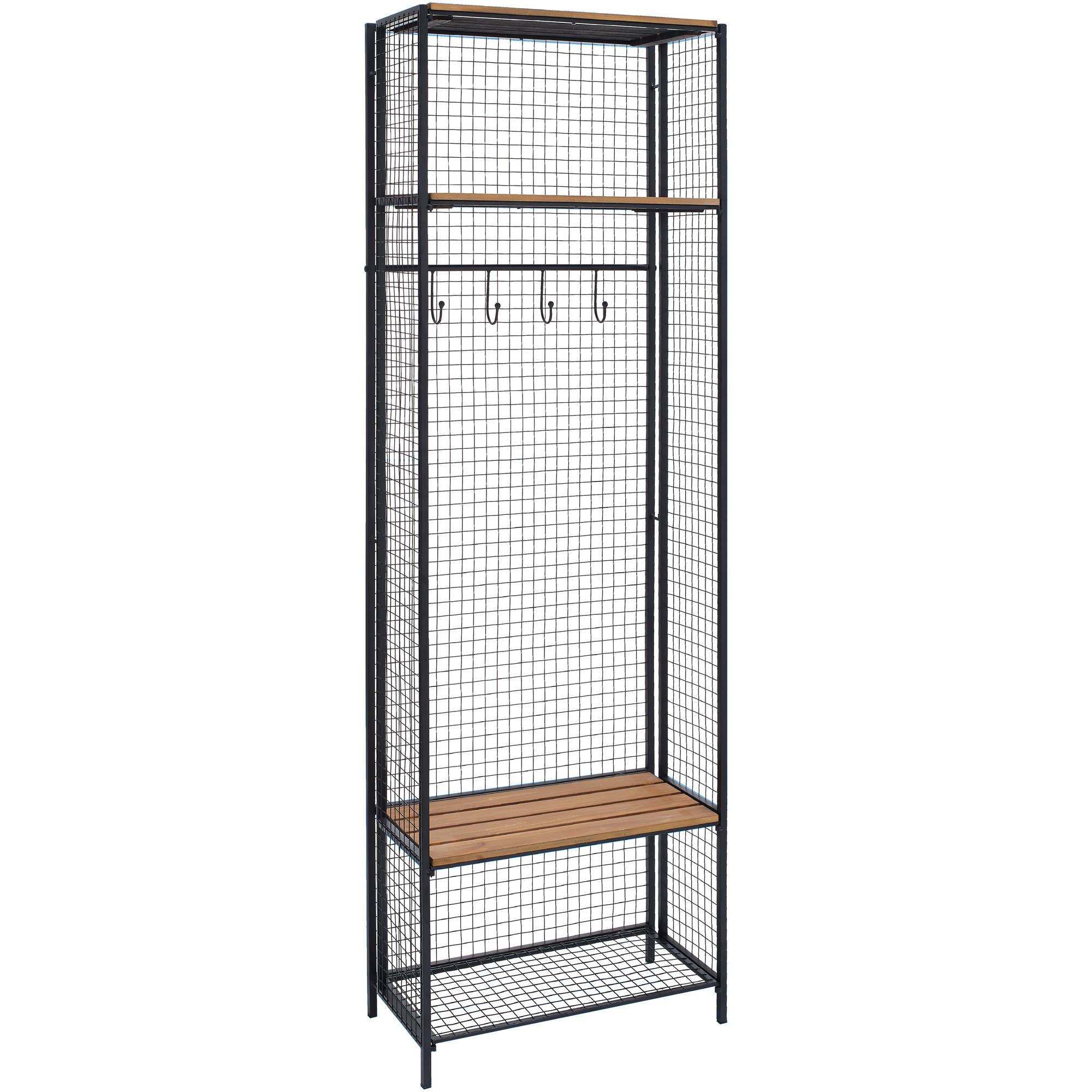 Linon Grid Metal and Wood Locker Coat Rack, 4 Hooks, 2 Shelves