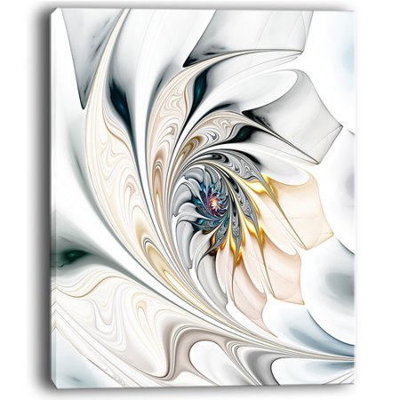 Design Art White Stained Glass Floral Large Floral Graphic Art on Wrapped Canvas ()