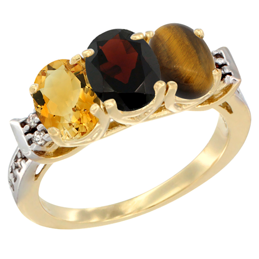 10K Yellow Gold Natural Citrine, Garnet & Tiger Eye Ring 3-Stone Oval 7x5 mm Diamond Accent, sizes 5 10 by WorldJewels