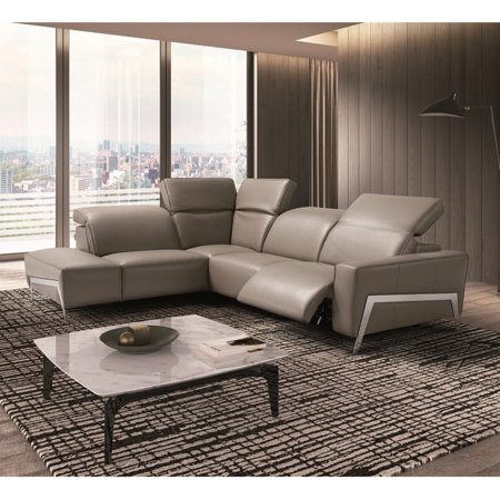 J Amp M Furniture Ocean Leather Sectional Sofa Walmart Com
