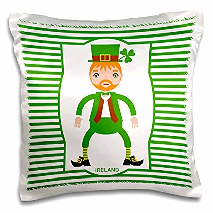 3dRose Ireland is represented by a funny man dressed in green for St. Patrick Day, Pillow Case, 16 by 16-inch - St Patrick's Day Dress