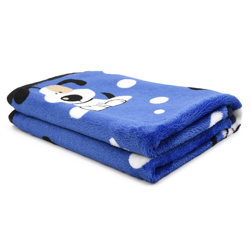 Soft Warming Sleep Mat Pet Cushion Bed Doggy Puppy Small Cat Fleece Throw Print Blanket for Dogs 76*52cm Blue2