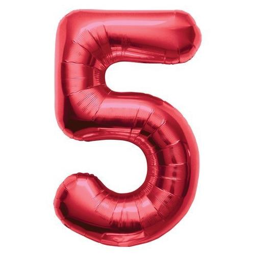 """Northstar Solid Color Number 5 Jumbo Helium Shape 34"""" Foil Balloon, Red"""