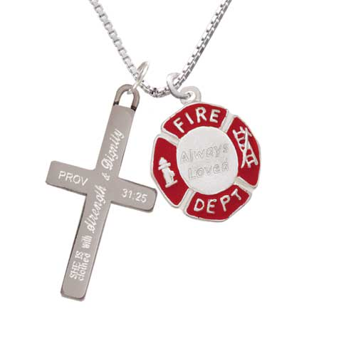 Delight Always Loved Fire Department Shield - Strength and Dignity - Cross Necklace