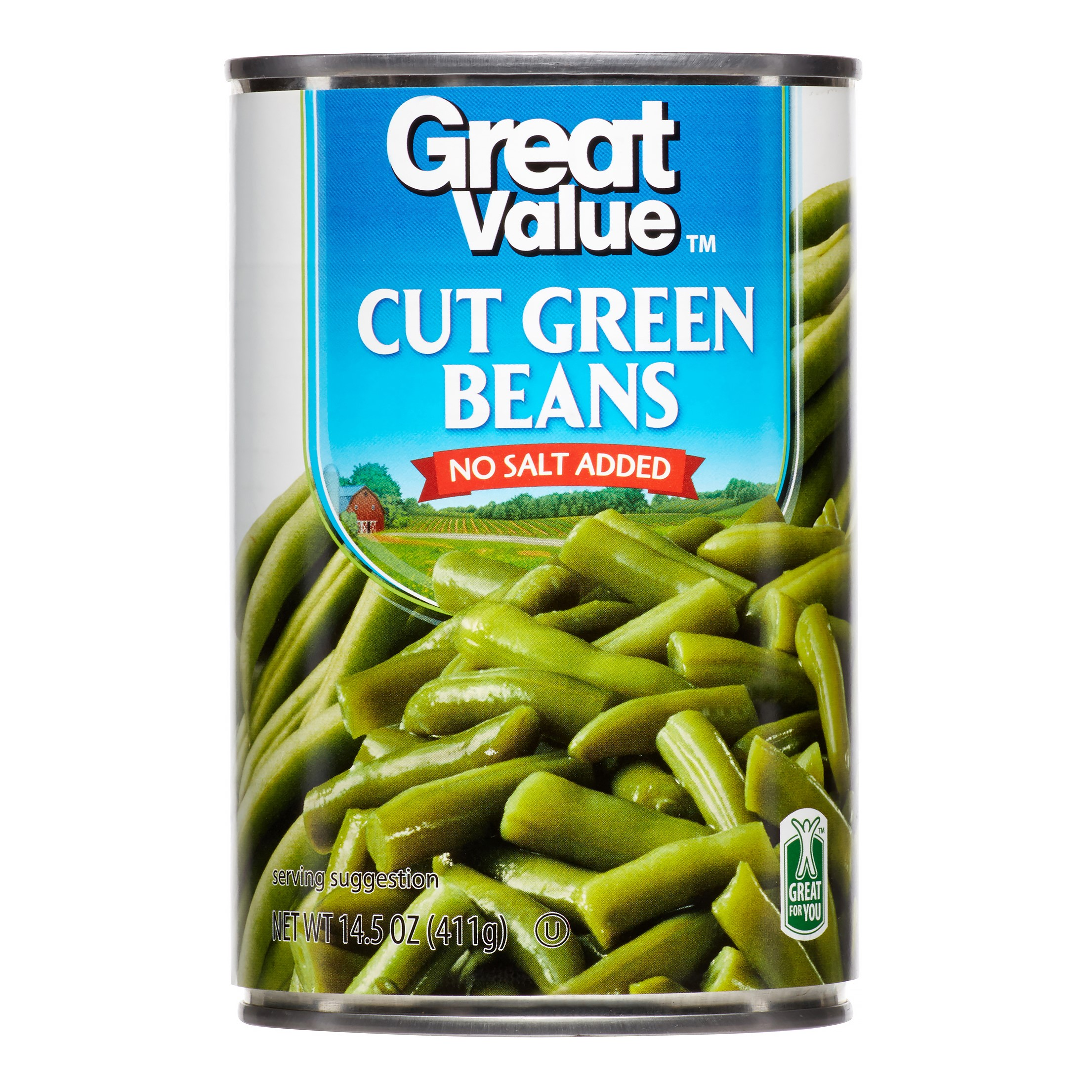 Great Value No Salt Added Cut Green Beans, 14.5 oz